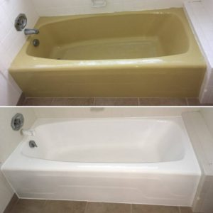 yellow bathtub refinished in white by America Refinishing Pros