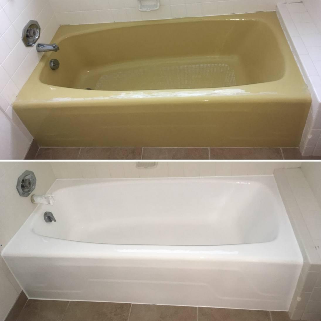 Genial Yellow Bathtub Refinished In White By America Refinishing Pros