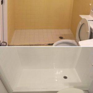 Shower floor refinishing service by America Refinishing Pros