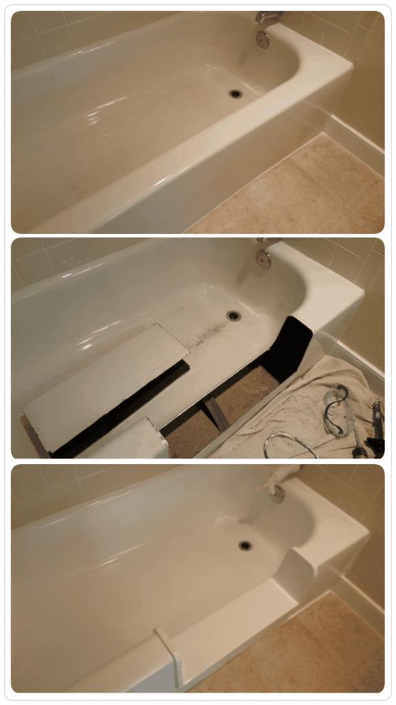 image of bathtub safety step/ tub cut process by America Refinishing Pros