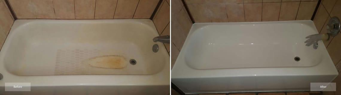 bathtub refinishing in almond on standard size tub by America Refinishing Pros