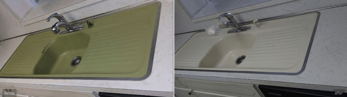 long kitchen sink refinishing service in beige by America Refinishing Pros