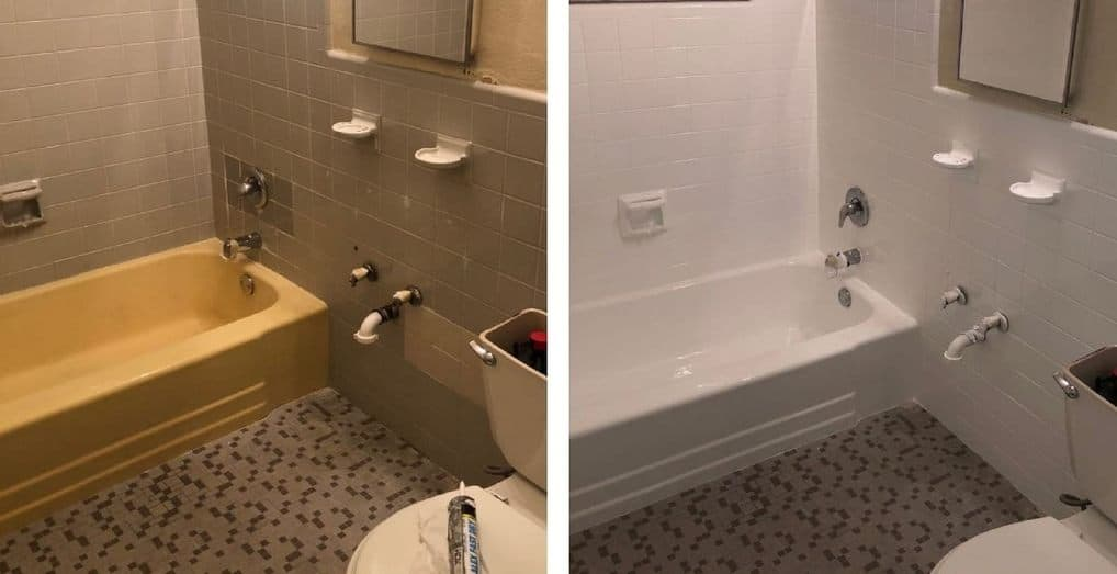 bathtub and tiles refinished by America Refinishing Pros