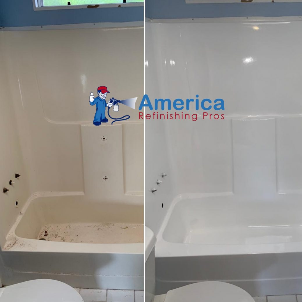 fiberglass bathtub refinishing project by America Refinishing Pros