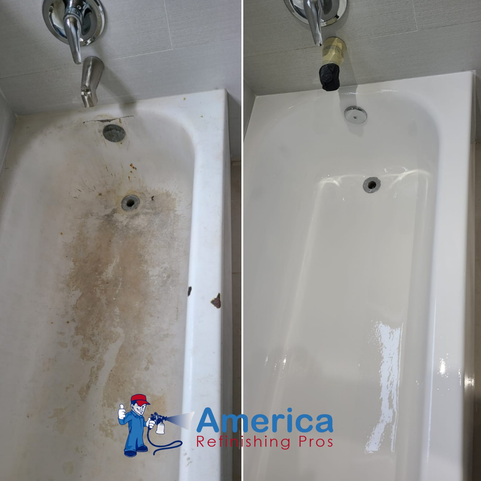 Before and after picture of bathtub refinishing service by America Refinishing Pros
