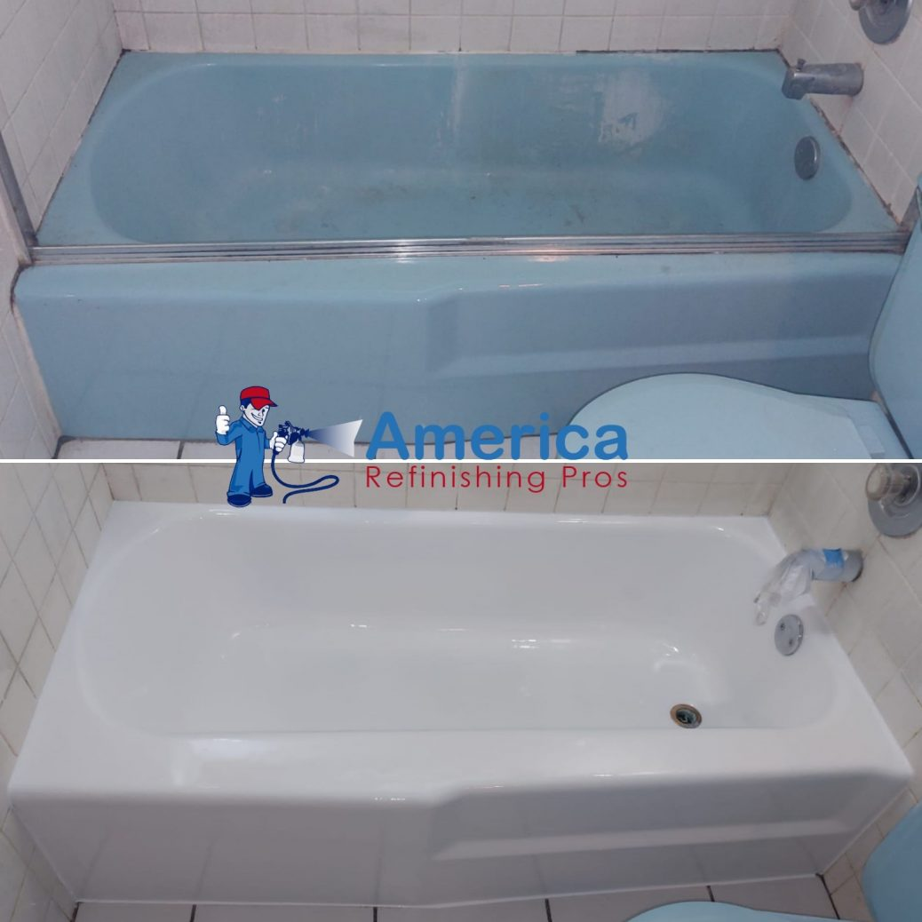porcelain tub refinishing with change of color from blue to white